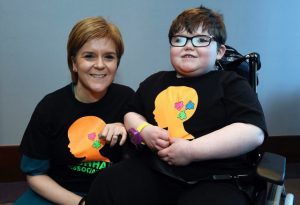 First Minister Nicola Sturgeon at the Golden Jubilee hospital where she met Aaron Hunter. Aaron suffers from a rare condition and can't stop eating. Pictured: Aaron and his family meet the Nicola Sturgeon and exchange presents